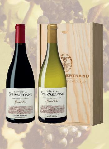 Coffret Bois 2 bouteilles Château La Sauvageonne Grand Vin