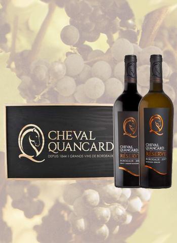 Coffret Noir 2 bouteilles Bordeaux Cheval Quancard Réserve