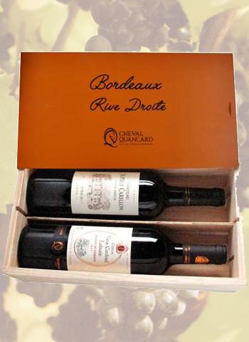 Coffret bois 2 bouteilles panachées Bordeaux Rive Droite