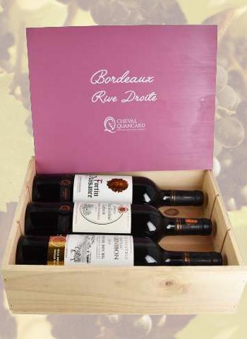 Coffret bois 3 bouteilles panachées Bordeaux Rive Droite