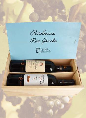 Coffret bois 2 bouteilles panachées Bordeaux Rive Gauche