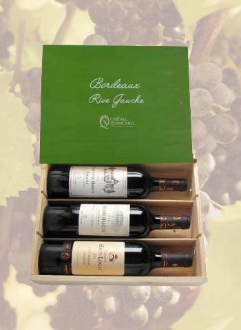 Coffret bois 3 bouteilles panachées Bordeaux Rive Gauche