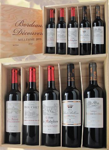 Coffret 5 bouteilles de vins de Bordeaux panachés 2015