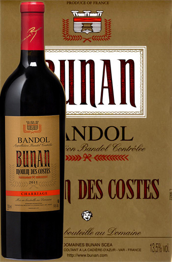 Moulin des Costes Rouge Cuvée Charriage 2016 Bandol Bio Bunan